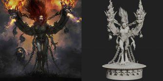 projekt statuetki Andariel z Diablo 4