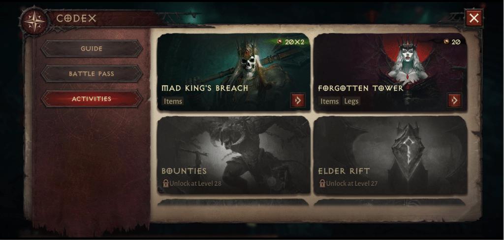 Aktywności w Battle Pass w Diablo Immortal