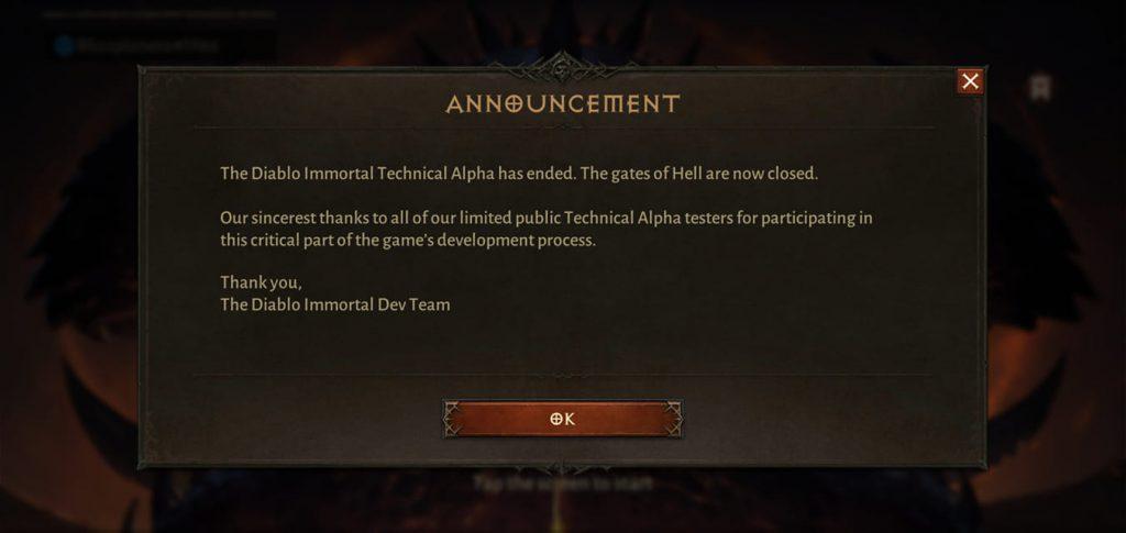 komunikat zakończenia alfa testów Diablo Immortal
