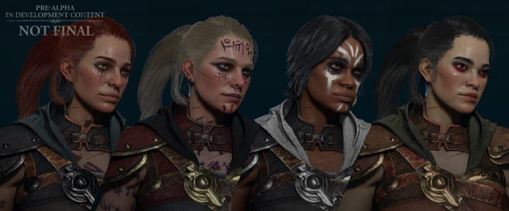Personalizacja postaci w Diablo IV - cztery różne wizualizacje Łotrzyc